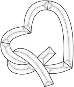 Heart with Ribbon Bevel Cluster
