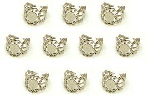 Sterling Silver Plated Adjustable Filigree Rings - 10 pack